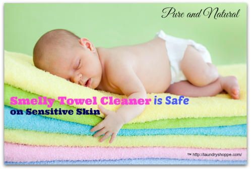 Smelly Towel Cleaner is a pure and natural way to freshen and deodorize your towels. Gentle on sensitive skin and fabrics.  #howtocleansmellytowels