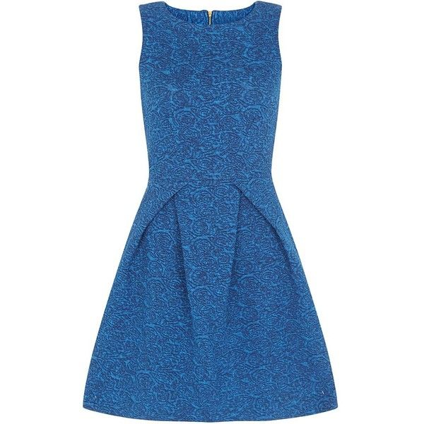 Closet Blue Denim Skater Dress (125 BAM) ❤ liked on Polyvore featuring dresses, sleeveless dress, denim summer dress, fit & flare dress, summer dresses en fit and flare dress
