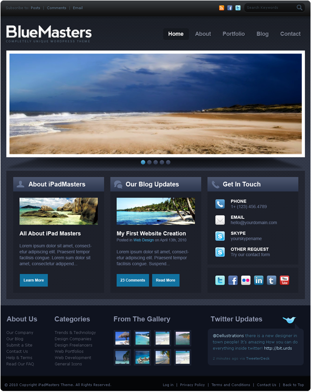 Blue Website Template | Free PSD Templates | Pinterest