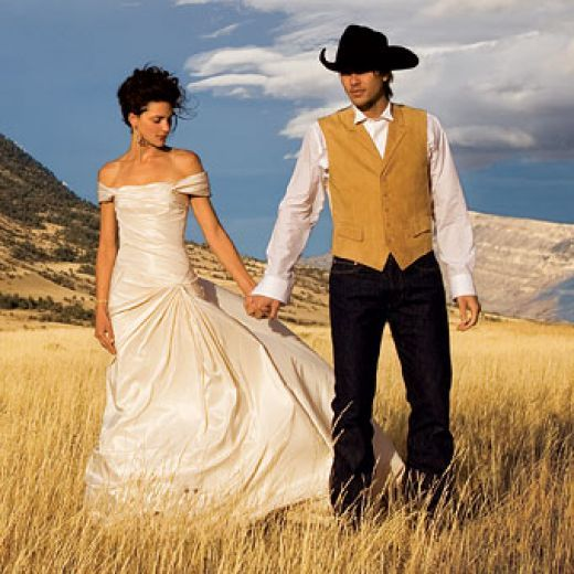 Rustic country western wedding dresses and themes for any for Western wedding dresses with boots