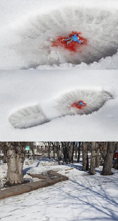 """Stroll"" - By Slinkachu, Gorky Park, Moscow, Russia"