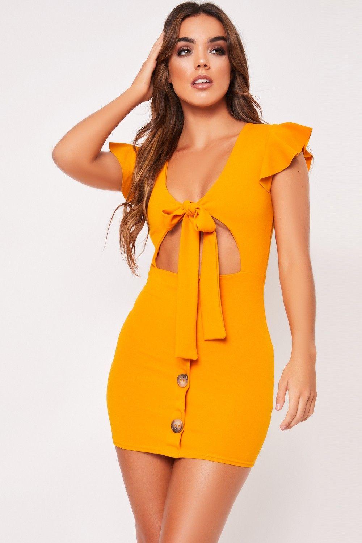Rust lace bodysuit  Kim Mustard Tie Front Button Mini Dress  uni  Pinterest  Front