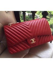 80a0ab270c29 Chanel 1113 Lambskin Chevron Quilting Classic Jumbo Flap Bag in Red 2015