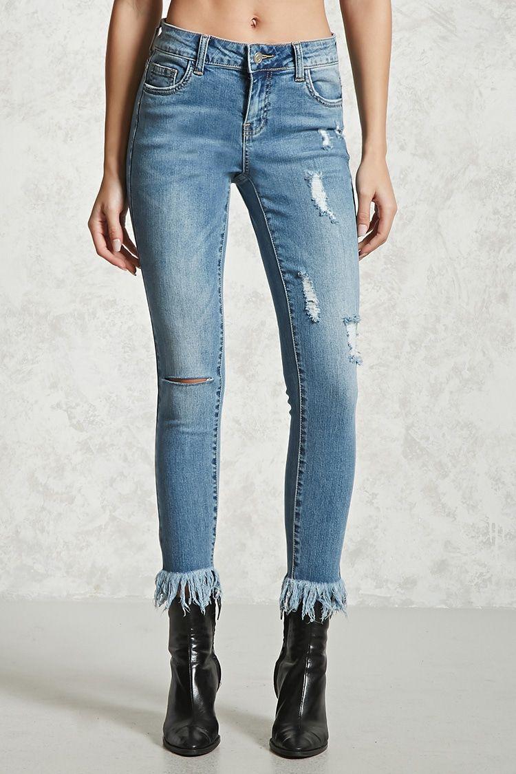 Five Salsa High Waisted Distressed Skinny Jeans - Med blue denim Pieces 83RgEfJ3I