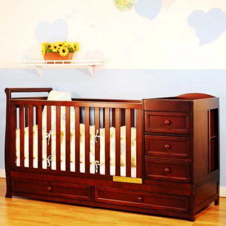 AFG Baby Furniture Daphne 2-in-1 Convertible Crib Cherry, Red
