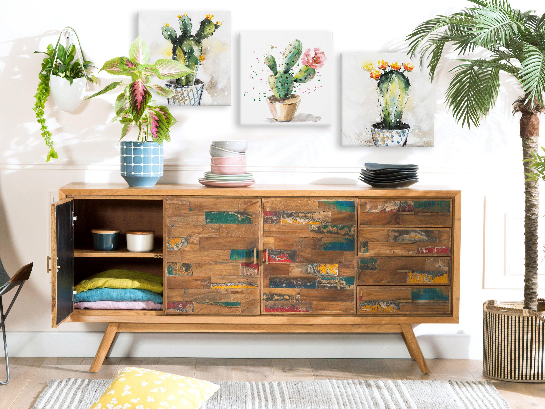 Buffet Enfilade Teck Recycle Colore 4 Portes Lombok Infos Et Dimensions Largeur 180 Cm Profondeur Buffet Enfilade Decoration Appartement Idees De Decor