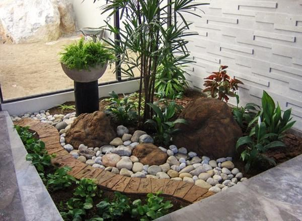 Awesome High Resolution Small Rock Garden Ideas #7 Small Front Yard Tropical Landscaping  Ideas