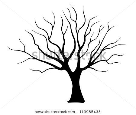 Tree Drawings Black And White Sillouette | Tree Silhouette Isolated On  White Shutterstock Image   Tree