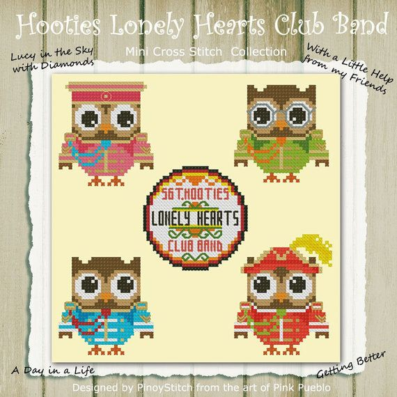 Hooties Lonely Hearts Club Band Cross Stitch PDF Chart