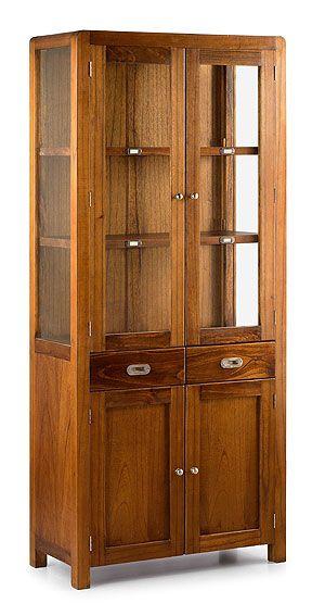 Muebles vitrina star 4 puertas 2 cajones vitrinas coloniales y r sticas - Vitrinas rusticas ...