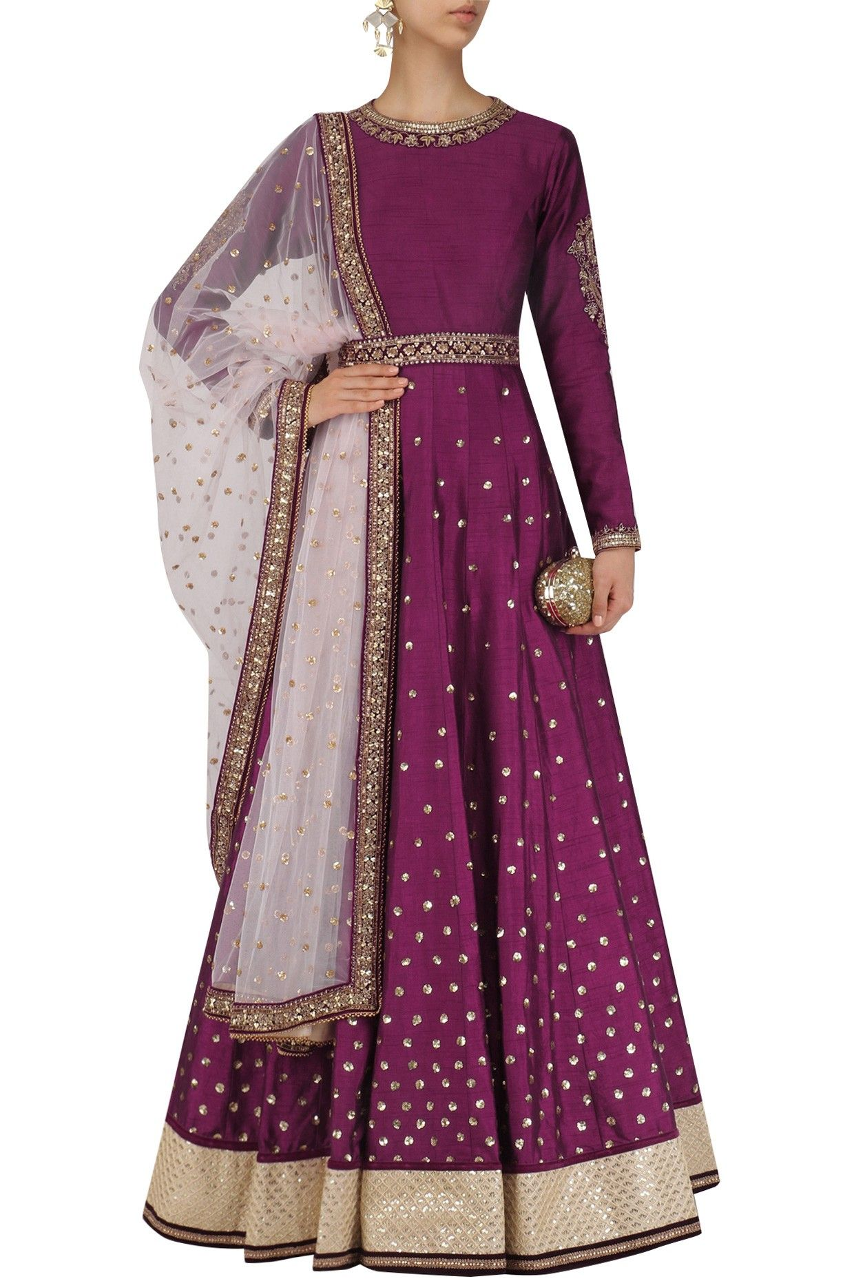 Wine sequins embroidered anarkali with dupatta and belt available ...