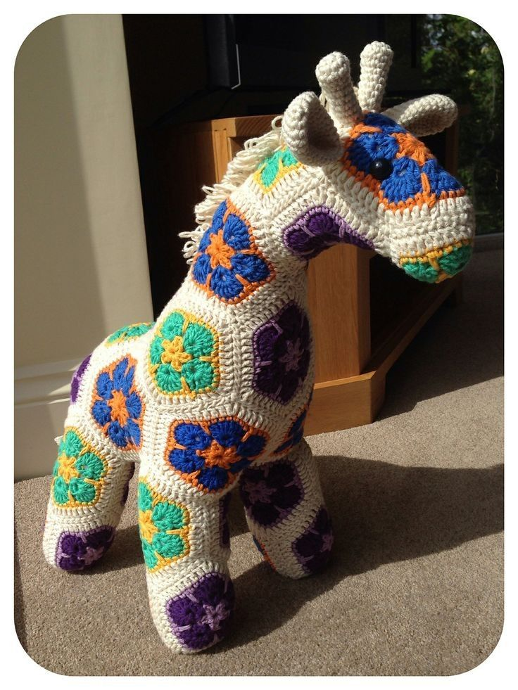 Free Knitting Patterns Animals : Free Knitting Crochet African Flower Giraffe Pattern - Crochet Animal, Croche...