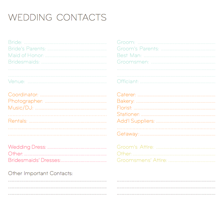 wedding planner information sheet solid graphikworks co