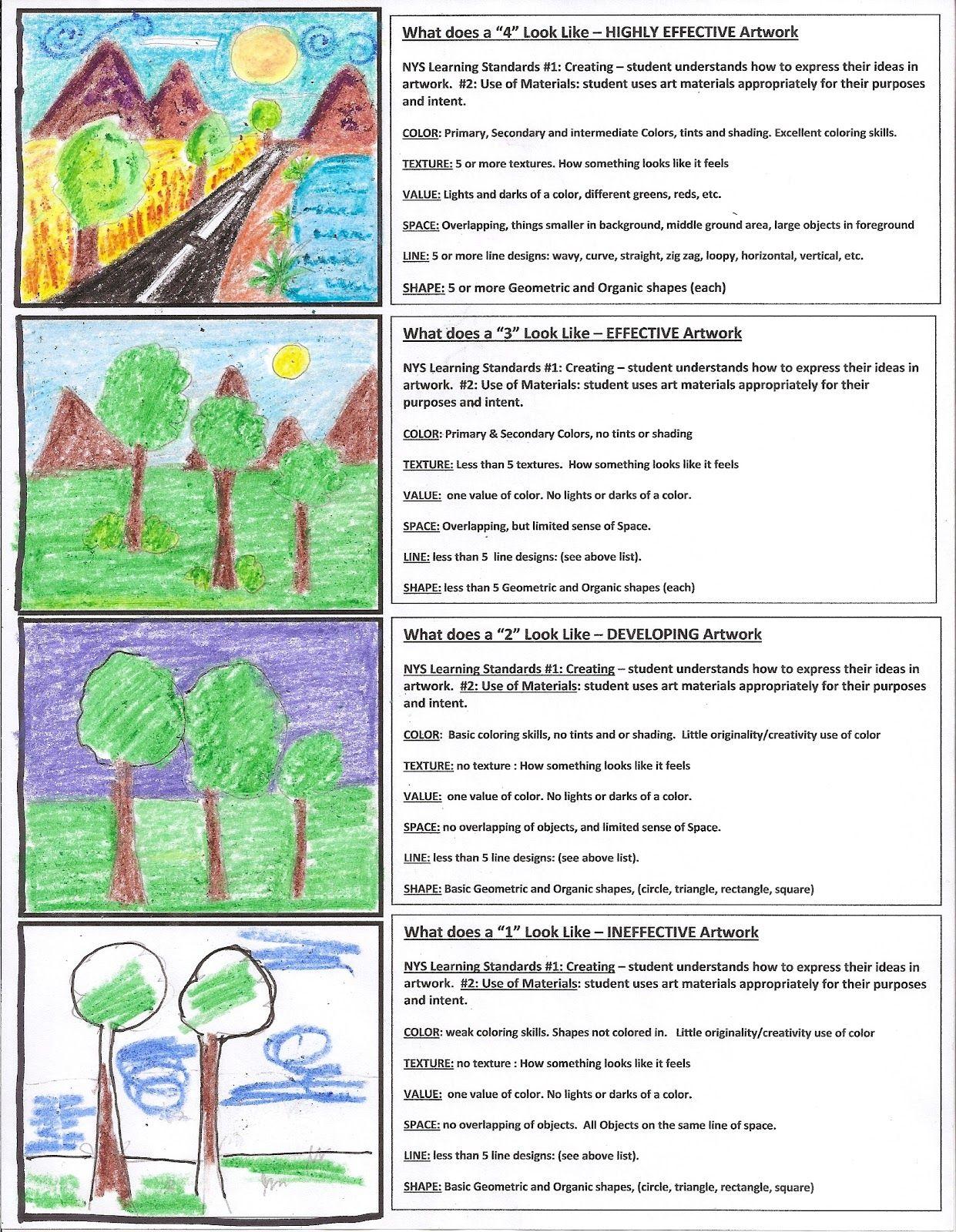 Art Is From The Heart Art Rubric For Elem Art Achievement School Ideas