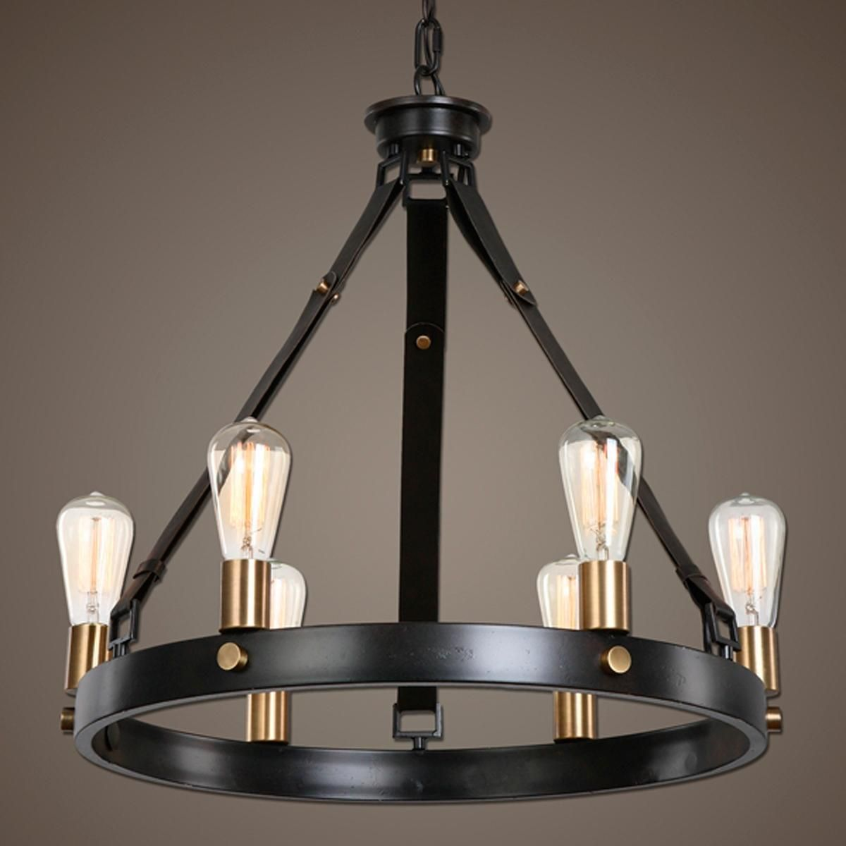 Leather Strap Mixed Metals Chandelier 6 Light Antique Bronze
