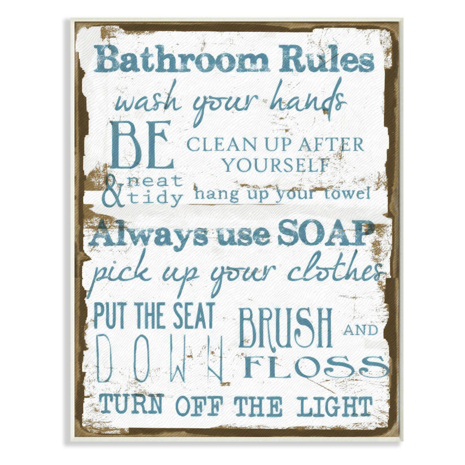 Brown and blue classic bathroom rules wall plaque art wrp