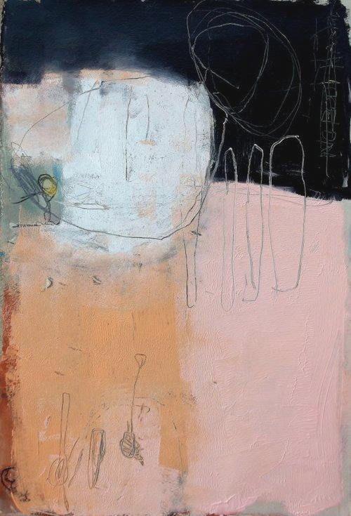 Wendy Mcwilliams LM curateur pour galerie TACT art contemporain collage mixed media force oppos e de ce rose clair face cette profondeur du noir LM - #abstractart