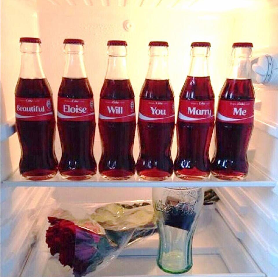 Unique marriage proposal for a coke lover!