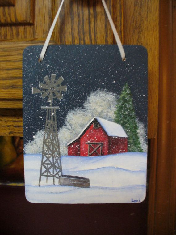 Hand Painted Winter or Christmas Rustic Red Country by PainterPals