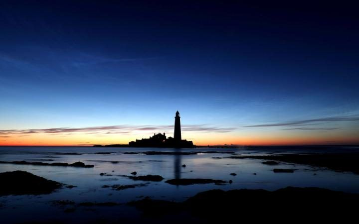 The silhouette of St Mary's lighthouse at 3am this morning, just before first lightat Whitley Bay, in Tyne and Wear