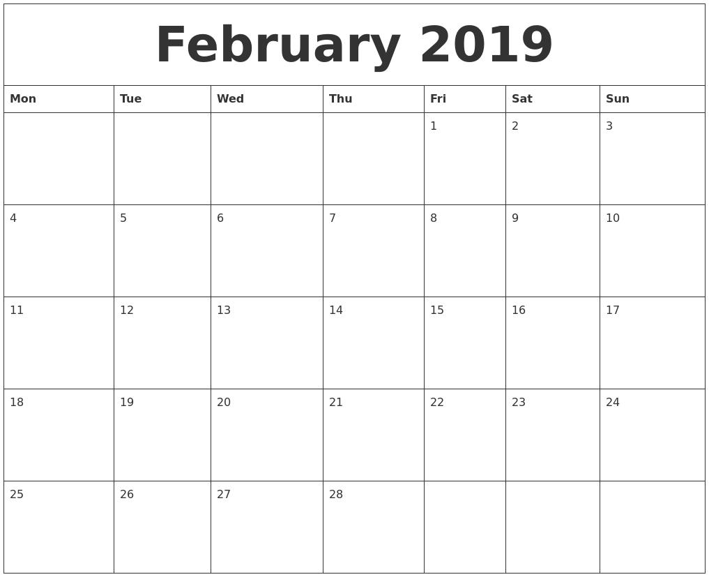 February 2019 Calendar For Word February 2019 Calendar to Print #february #february2019