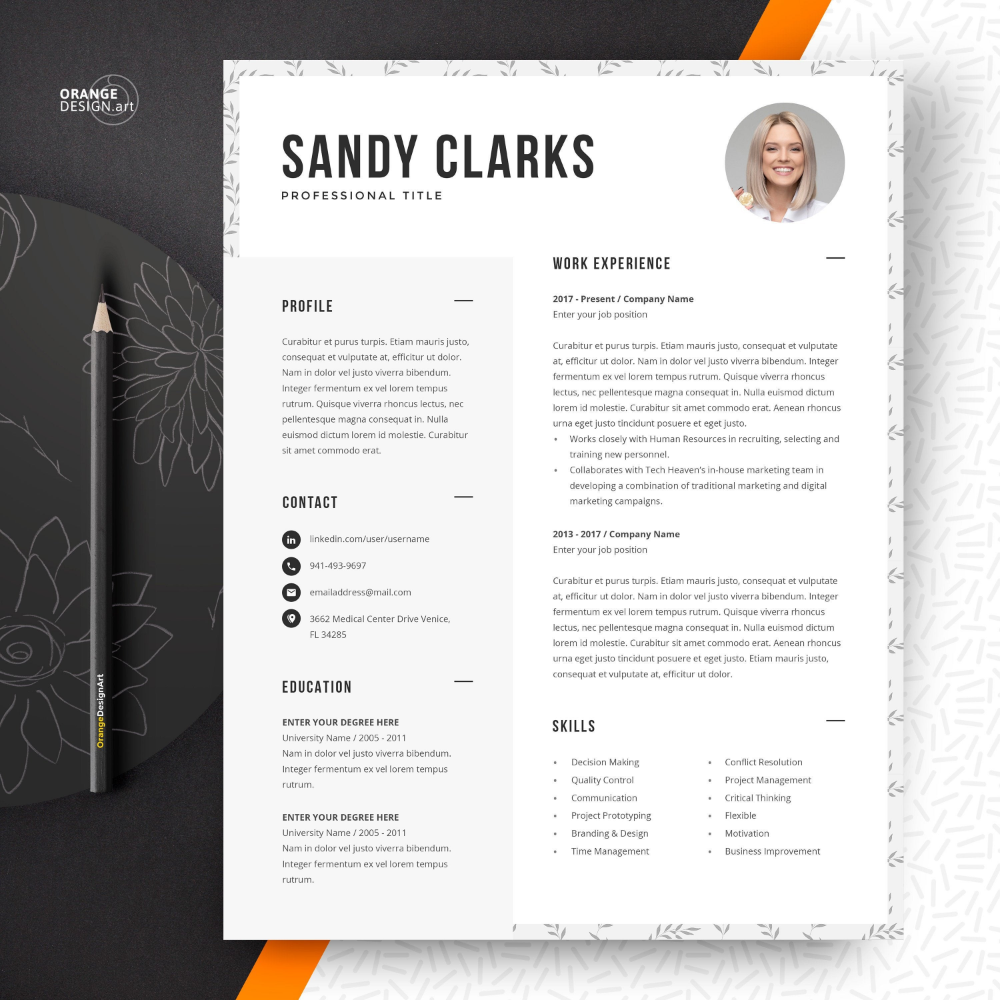 Resume Template for Word + Cover Letter Template