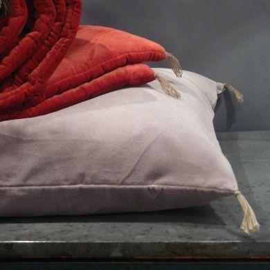 Washed velvet cushions with tassel detail, Caravane