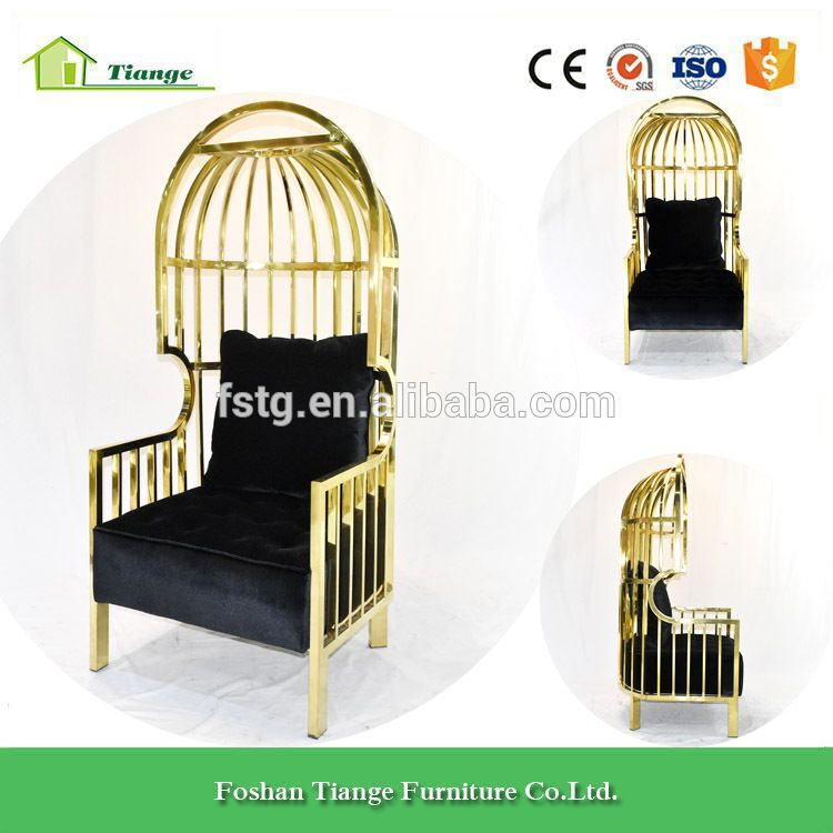 Luxury Wedding Furniture Unique Design High Back Gold Cage