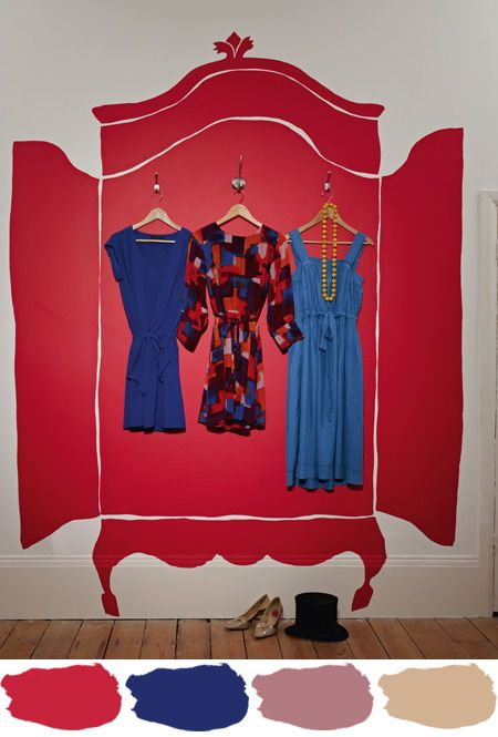 paint the clothes cupboard on the wall, add hooks: make it more symmetrical