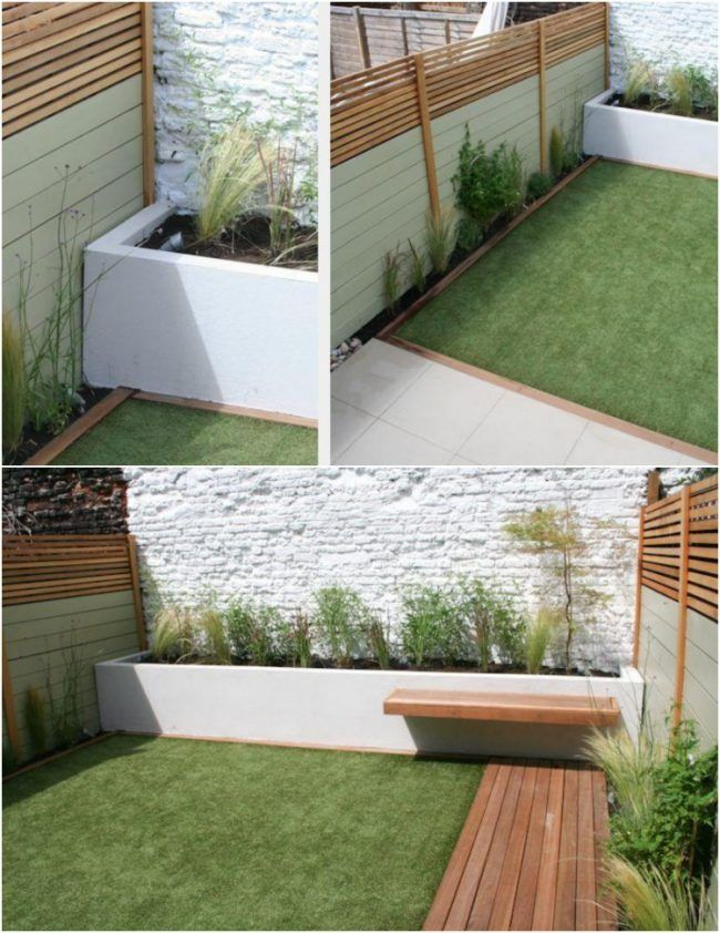 Gartengestaltung Ideen Kleine Garten Rasenflache Hochbeet Holz Sitzbank  Garden