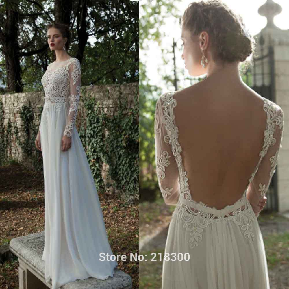 Backless long sleeve lace wedding dress open back beach wedding