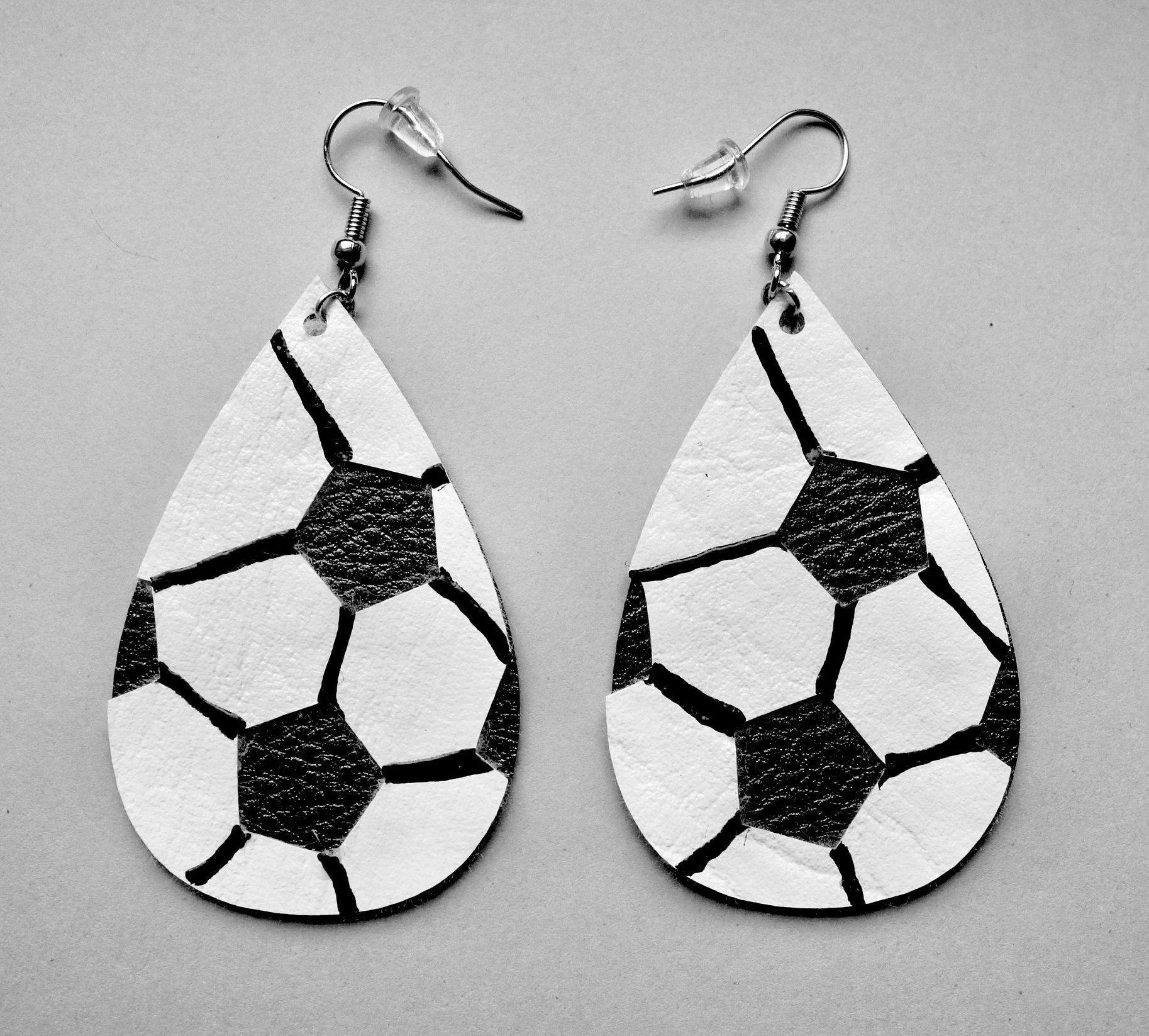 Faux leather soccer earrings gift for sports fan gift