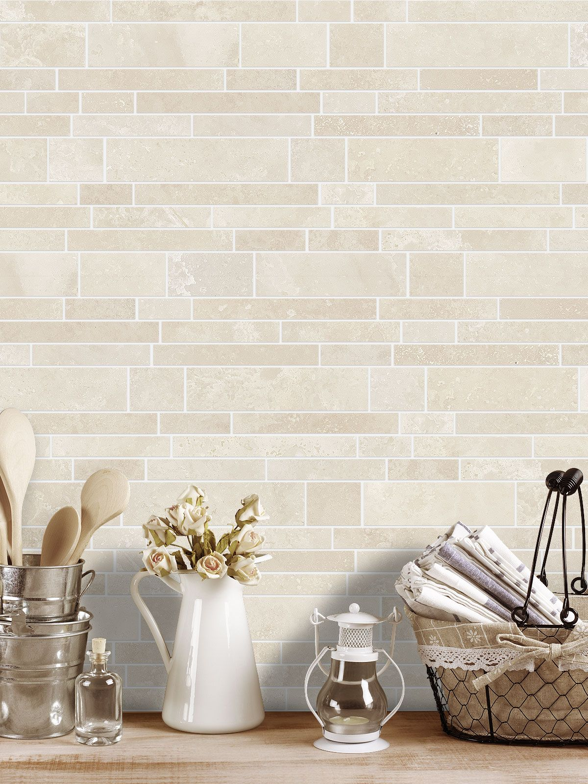 Photo of Light ivory Travertine Kitchen Subway Backsplash Tile | Backsplash.com