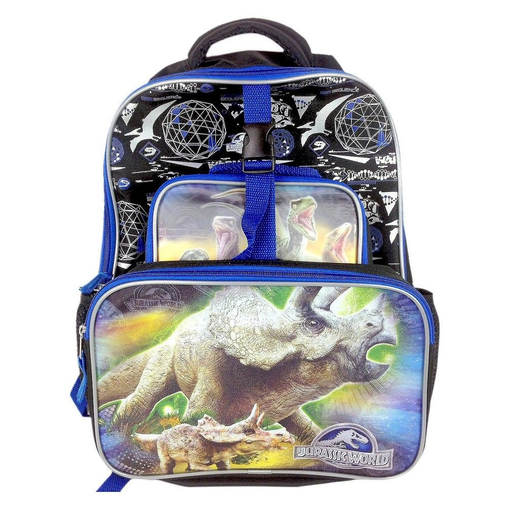 Disney 16 Deluxe Jurassic World Kids Backpack with Front Cargo Pocket and Lunch Kit - Black/Blue