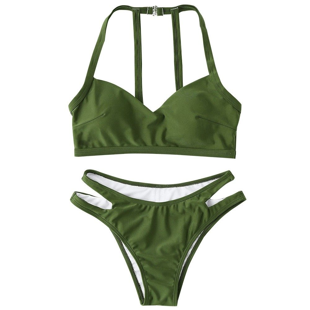 Cutout Padded Bikini Set Army Green 3Y46453014 Size L