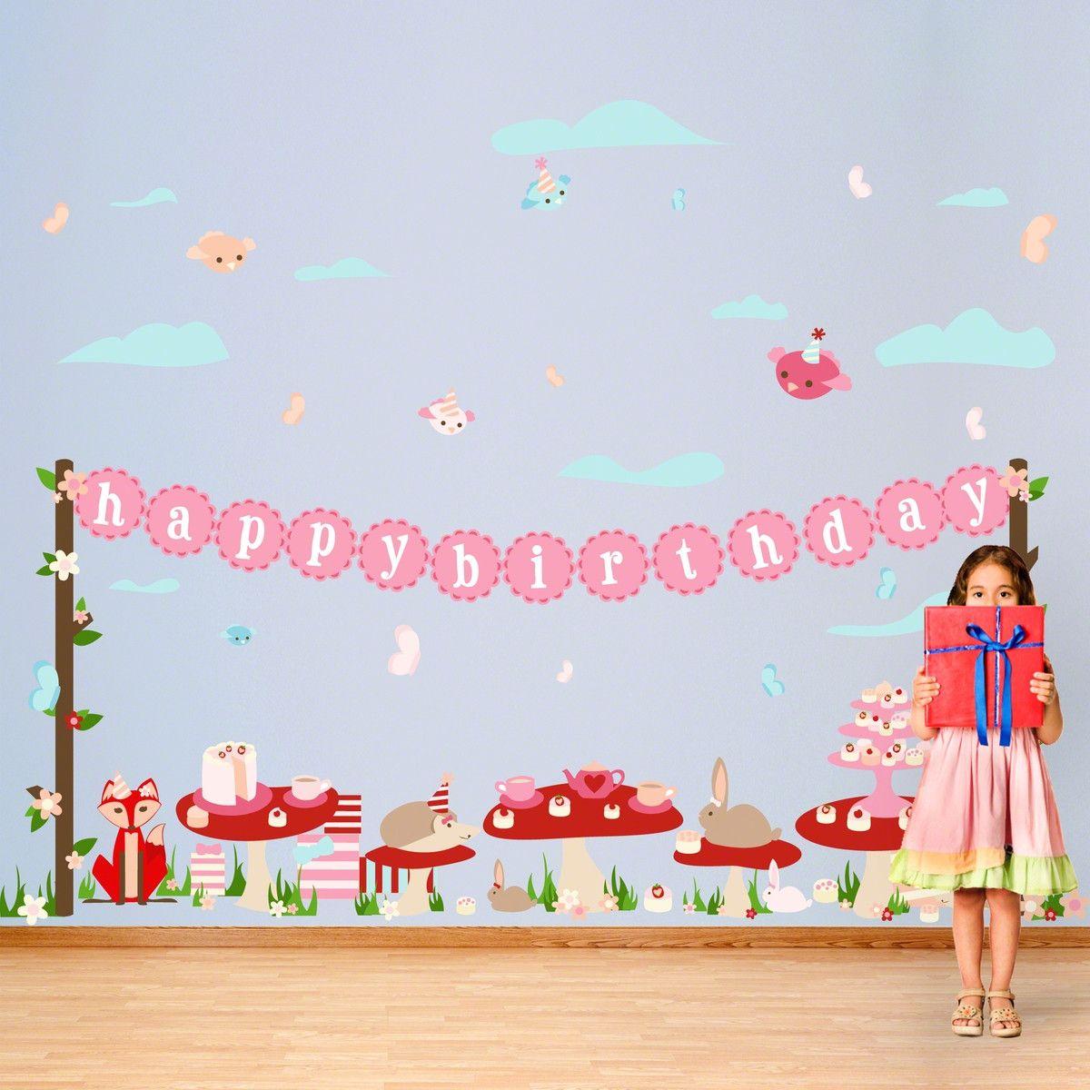 Tea Party Birthday Wall Decal Kit Pinterest Birthday Wall Tea