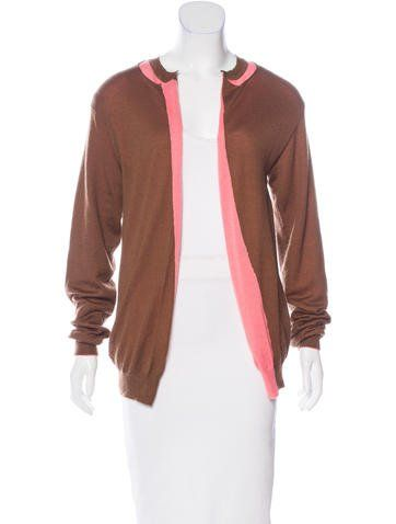 Pink and brown Marni colorblock cashmere cardigan with rib knit trim throughout and open front.