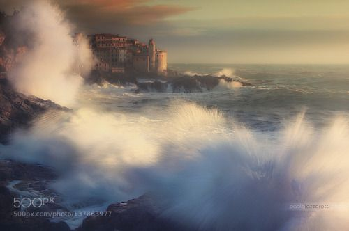 A Fresh Water Explosion by Paolo73  beatiful blue cliff clouds explosion liguria red rocks sea seascape sky sprays storm sunset tellaro
