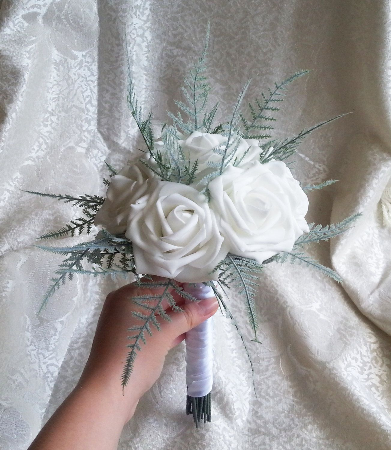 White Foam Roses Ferns Flowers Wedding Small Bouquet Satin Handle