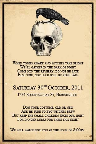 printable halloween skull invitation for an adults costume party change the wording to suit your celebration - Halloween Invitation Verses