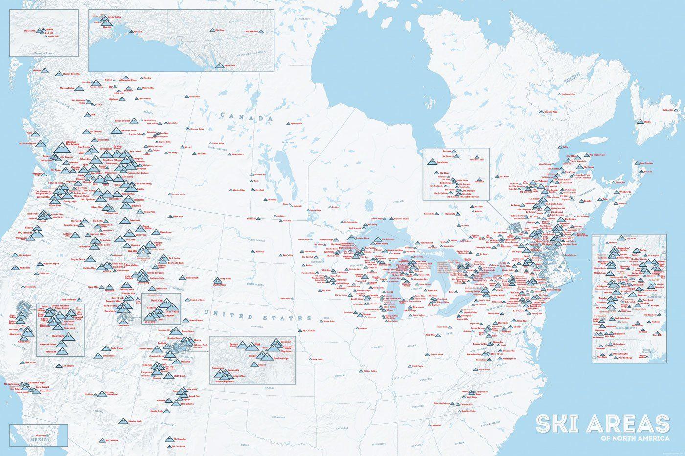 North America Ski Resorts Map 24x36 Poster Ski Resort North