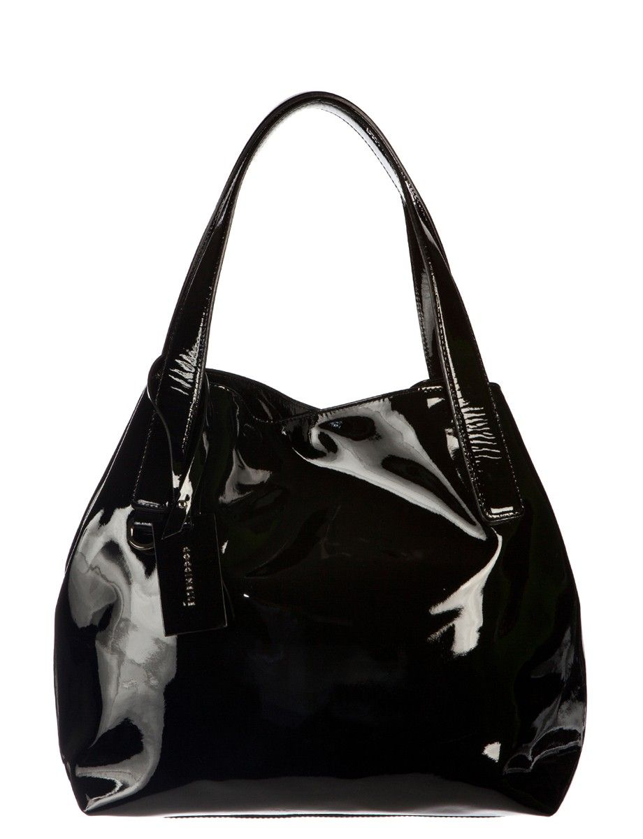 Coccinelle Black Patent Leather Tote Bag