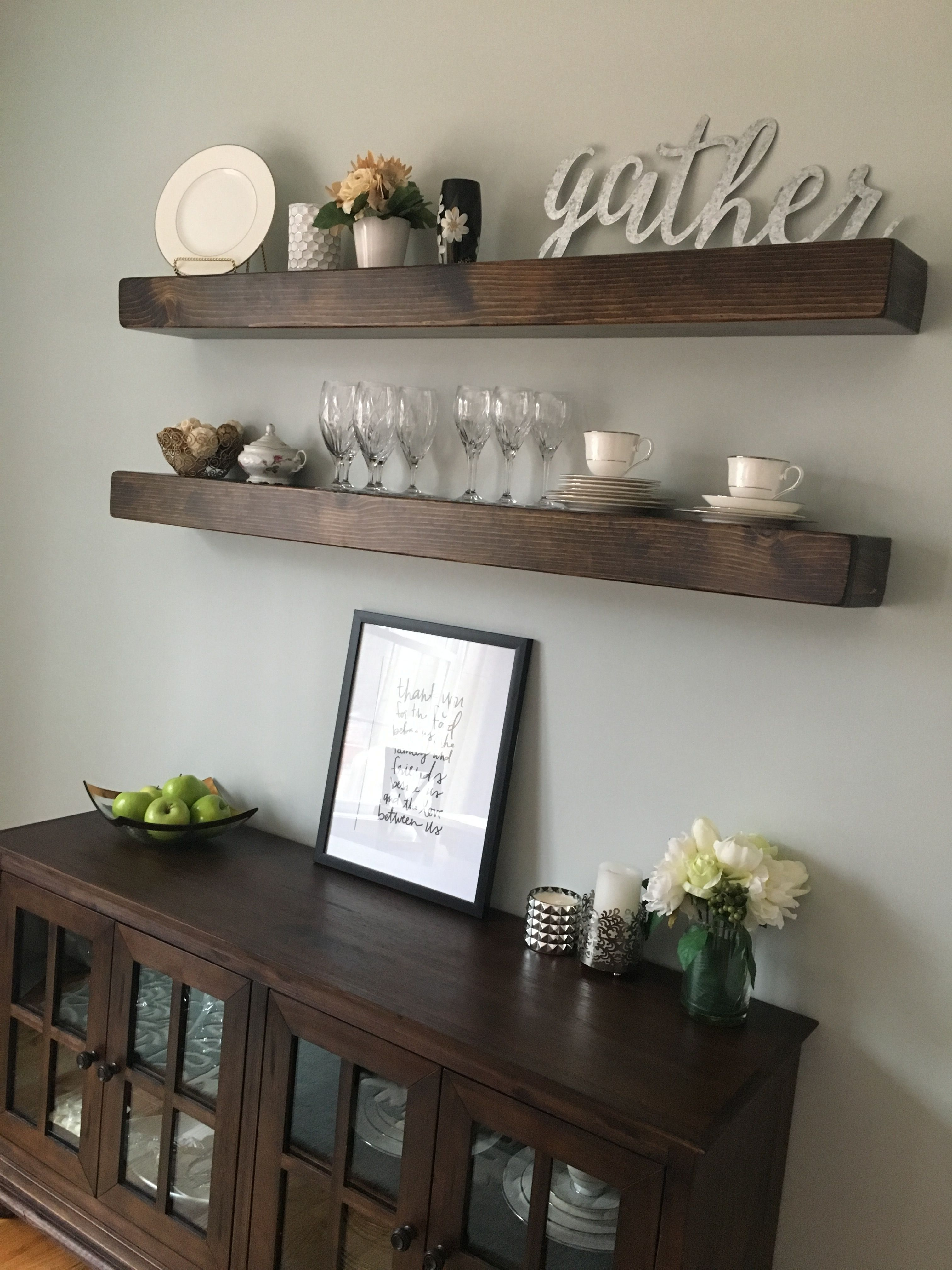 9 Exquisite Ideas Farmhouse Floating Shelves Above Couch Wooden Floating Shelf Bed In 2020 Dining Room Wall Decor Dining Room Floating Shelves Small Dining Room Decor