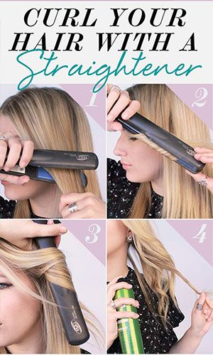 Curl Hair With Flat Iron Curling With Straightener Hacks How To Curls With Straightener How To Curl Your Hair Curling Hair With Flat Iron