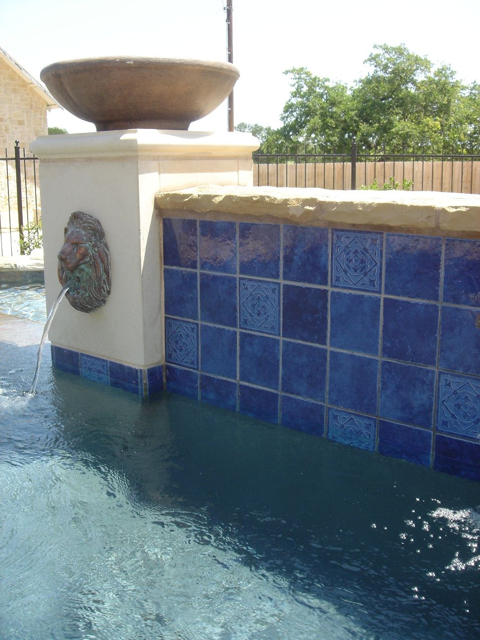 Tahitian gloss blue 6 in x 6 in stone look pinterest resplendent classic pool tile rodio with king lion head wall fountain water feature also wrought iron pool fence ideas of pool tiles doublecrazyfo Image collections