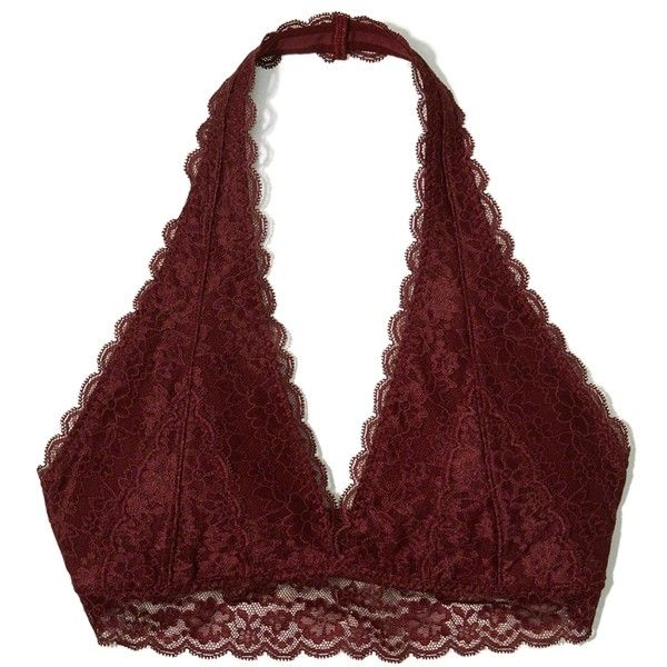 f35747f47f51 Hollister Lace Halter Bralette With Removable Pads ($17) ❤ liked on ...