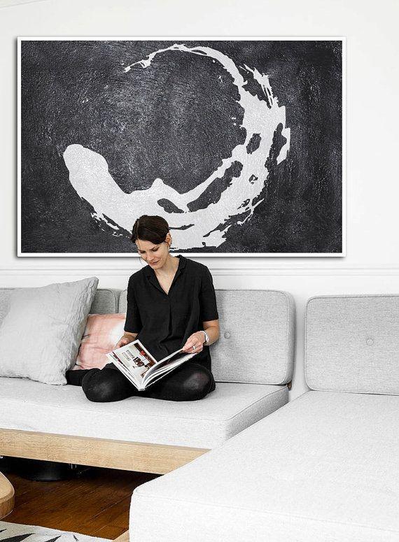 Handmade original painting large abstract acrylic painting canvas painting black white modern art minimalist painting