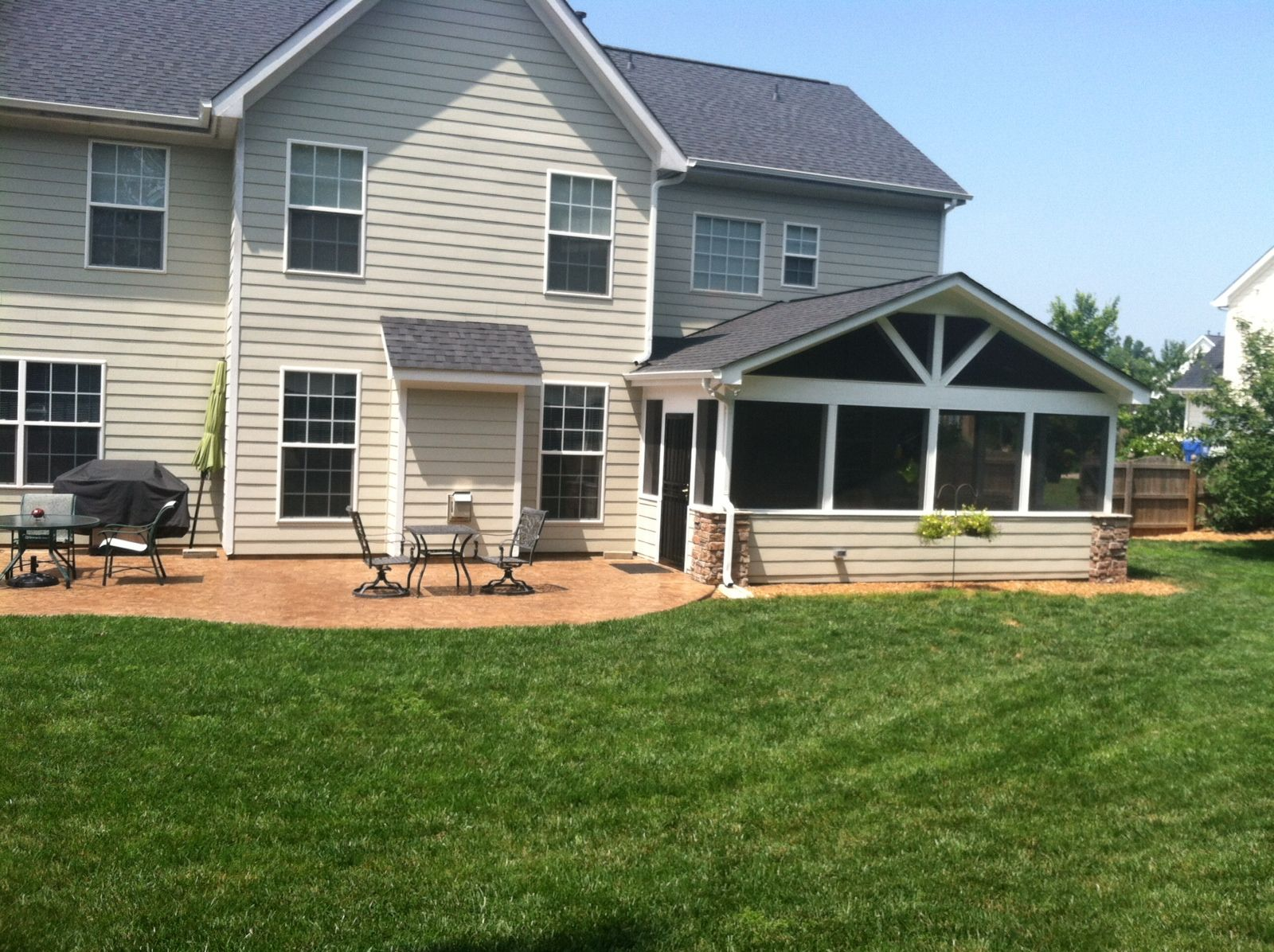 screen porch and stamped concrete patio deck pros pinterest