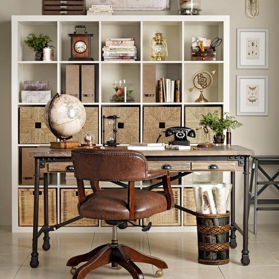 Retro home office with streamlined shelving Traditional home