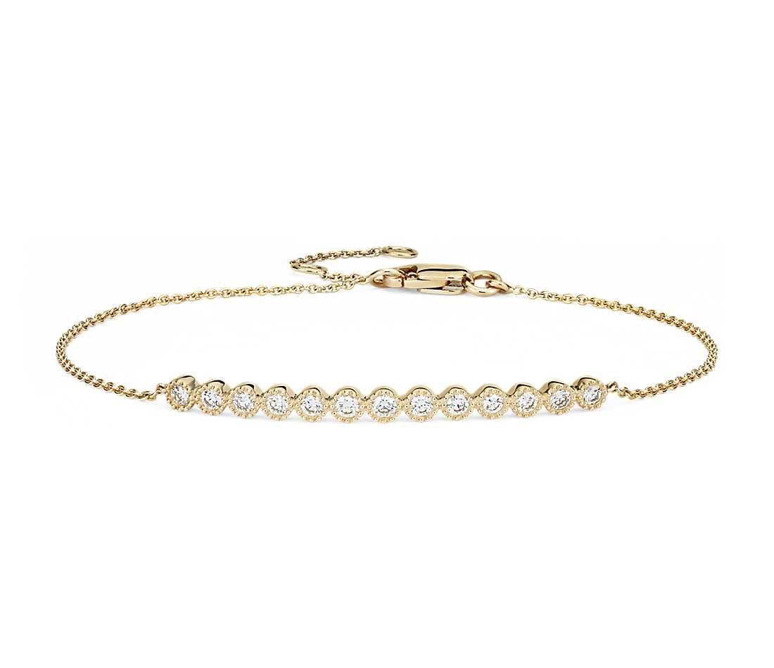 1.78ct 18k Gold Milgrain Diamond Bolo Friendship Bracelet